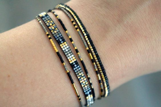 Set of 5 Miyuki beaded bracelets handmade - Gold plated lobster clasp