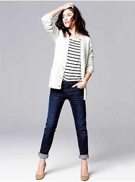 Gap Spring Collection- Cardigan, tee, and straight leg jeans