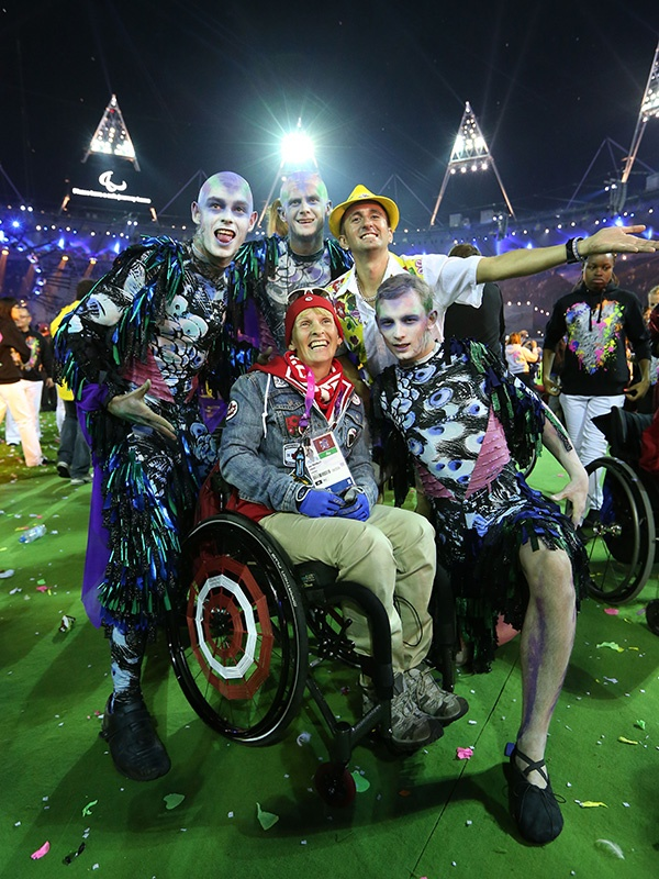 Paralympian Lyne Tremblay of Canada poses with performers during the closing ceremony on day 11 of the London 2012 Paralympic Games at Olympic Stadium on September 9, 2012 in London, England. (Photo by Peter Macdiarmid/Getty Images)
