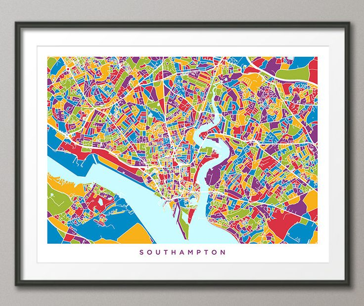 Southampton Map, Southampton Hampshire England City Street Map, Art Print (2789) by artPause on Etsy