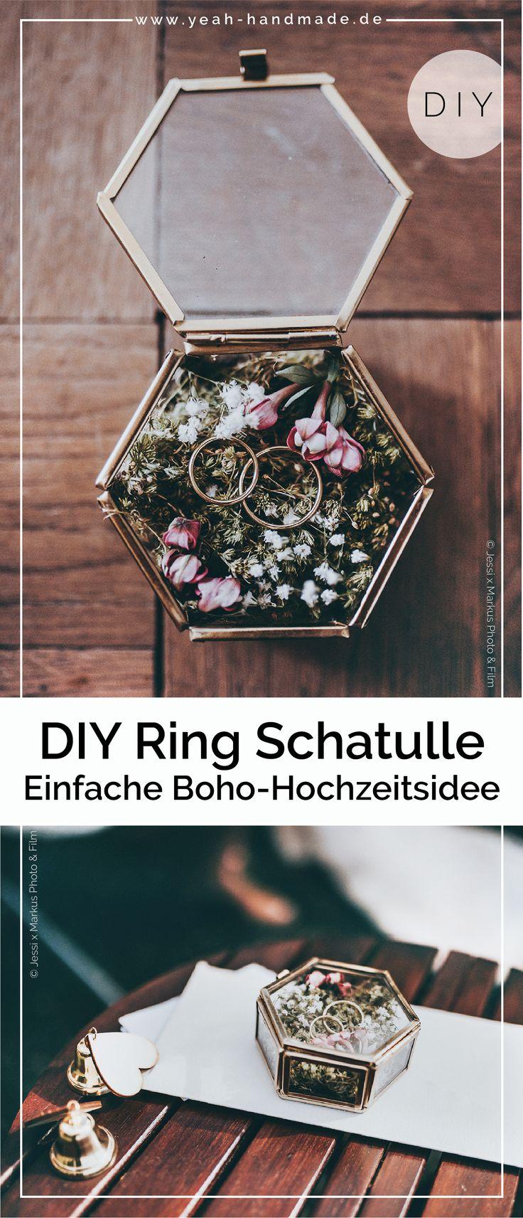 DIY Hochzeitsideen: Ringkissen aus Moos in einer Glasschatulle