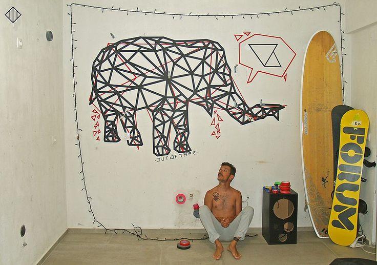 'Speaking in Triangles' Tape art mural