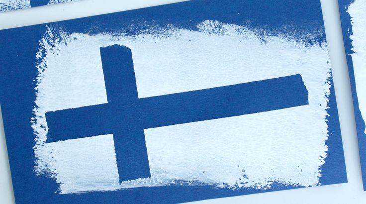 Näillä ohjeilla syntyy Suomen lippu pienenkin lapsen käsissä hauskasti, helposti ja nopeasti. Käytössä maalarinteippiä, sormiväriä ja maalitela.