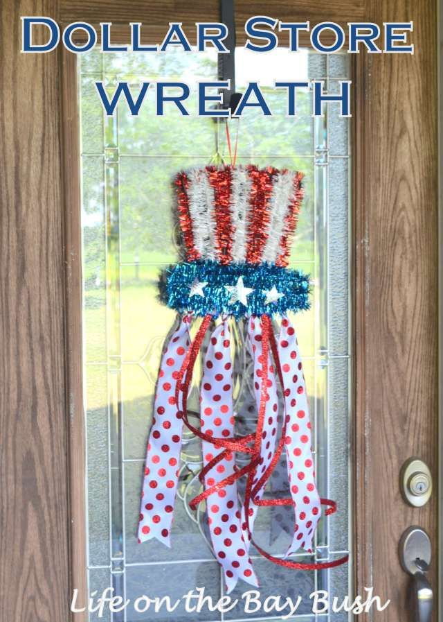 Cute Easy July 4th Wreath made from Dollar Store supplies!  Definitely need to try this for Independence Day!