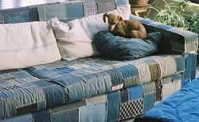 Denim patchwork sofa