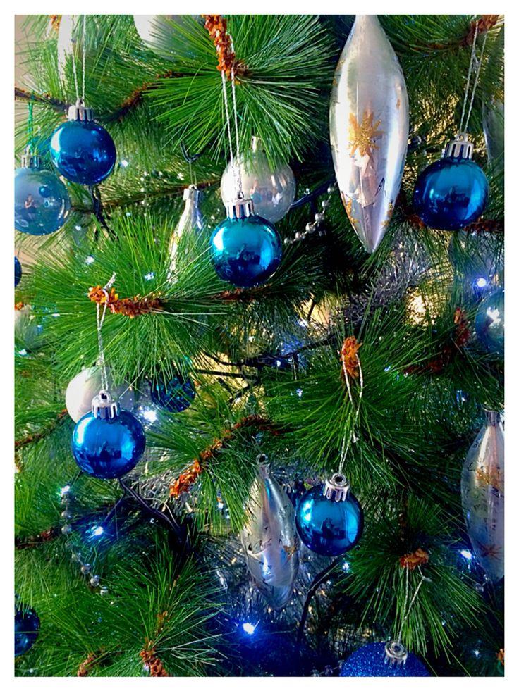 Blue  & silver Christmas decor