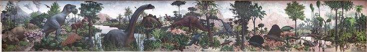 """The Age of Reptiles Mural at the Yale Peabody Museum of Natural History. """"Artist Rudolph Zallinger was a 23-year-old at the start in 1942, and later admitted that he did not know """"the front end from the rear end of a dinosaur."""" He spent four years on the project, and one art historian called the resulting Garden of Eden for dinosaurs the most important mural since the 15th century. In 1953, Life magazine published a fold-out reprint of the original study of the mural"""""""