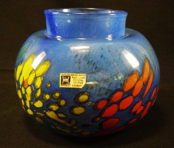 Nice Norway Hadeland Glass Vase by Gro Bergslien Original Label Signed   eBay