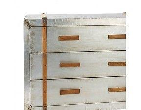 Pomax - Industriële metalen Dressoir op wieltjes met houten afwerking