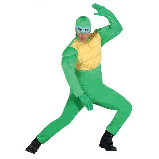 Groen ninja kostuum voor mannen. Het kostuum bestaat uit een jumpsuit en een capuchon. One size model(L/XL).