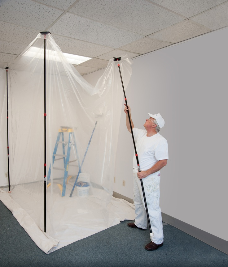 If you want to paint an area of your home or spray paint, this barrier setup is perfect so that there is no paint overspray in other areas. It sets up as a paint booth. [ZipWall product]