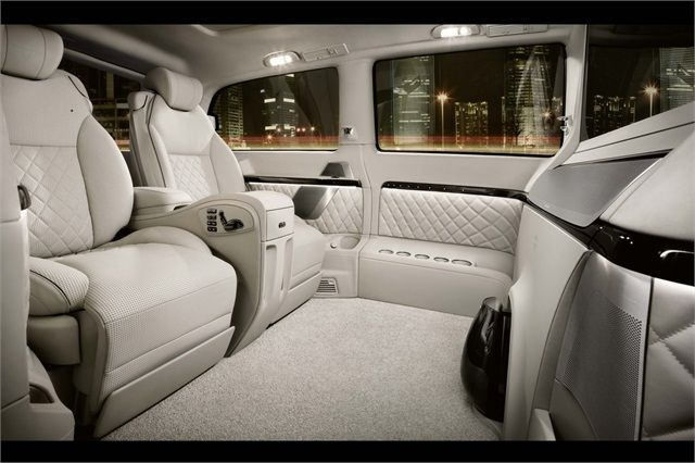 The plush passenger area of the new #Mercedes-Benz Viano Vision Diamond #luxury van concept wears porcelain white leather.