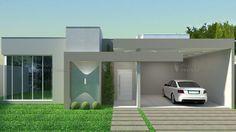 Casa C010: Projeto de casa com 3 quartos, sendo 1 suíte, 3 banheiros e 2 vagas na garagem. Com um visual moderno, de telhado oculto, em platibanda.