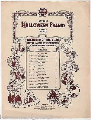 HALLOWEEN PRANKS VINTAGE 1920s SONG SHEET MUSIC BY G. MARTIN