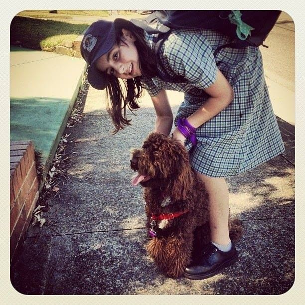 Taloodle Daisy picking up Bianca from school. Please read Bianca's story and find out why Taloodles is such an important charity to support