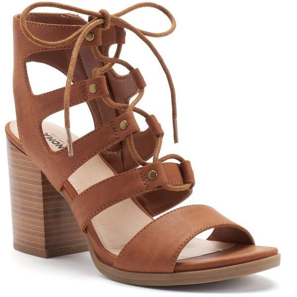 SONOMA Goods for Life™ Women's Lace-Up High Heel Sandals ($24) ❤ liked on Polyvore featuring shoes, sandals, lt beige, heeled sandals, zipper sandals, lace-up sandals, chunky heel sandals and open toe shoes