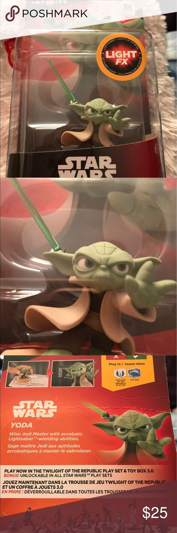 Star wars Yoda Disney infinity 3.0 mini figure This is a new in the box Yoda mini figure and power disc for Disney infinity games addition 3.0. This is a light FX edition that the light saber actually lights up when placed on the base during the game. 3.0 edition is not for the 2.0 only  3.0. For ages 6+. Great for display if you don't have the game. Disney Other