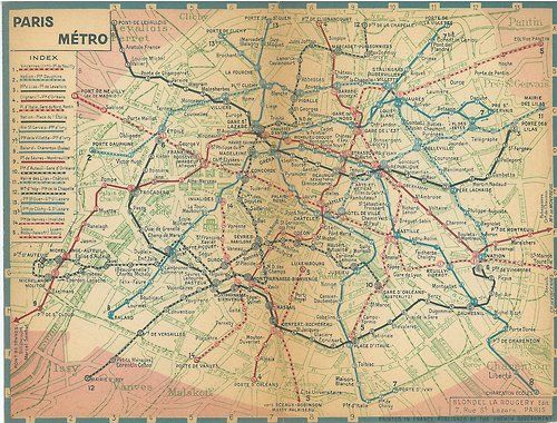 old map of the paris metro