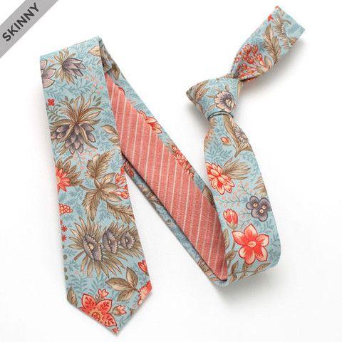 Vintage Misty Botanical & Old Rose Slub Stripe Skinny - vintage ties handmade in the United States