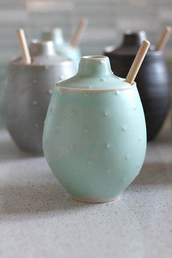 Honey Pot! This guy is so cute. I threw this pot on the wheel out of white stoneware, and then added polka dots to the outside for some nice