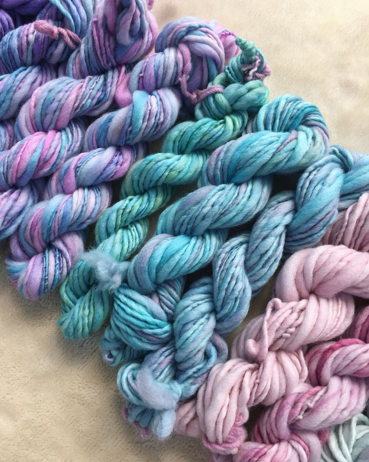 A selection of my most recent hand dyed and spun yarns. 100% Australian merino dyed with landscape dyes