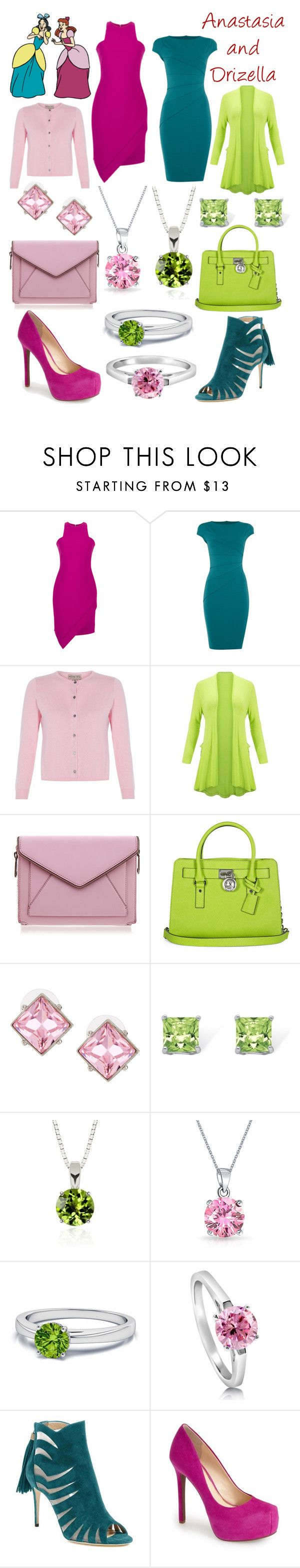 """Anastasia and Drizella Disneybound"" by msmith22 ❤ liked on Polyvore featuring Elizabeth and James, Jessica Wright, Rebecca Minkoff, Michael Kors, Kenneth Jay Lane, Palm Beach Jewelry, Belk & Co., Bling Jewelry, BERRICLE and Paul Andrew"