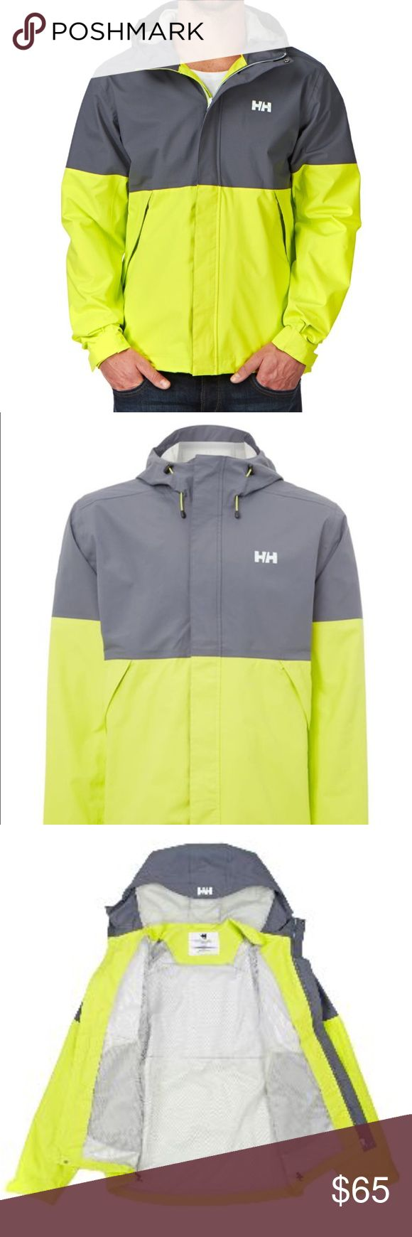 Helly Hansen Fremont Rain Jacket Helly Hansen Fremont rain jacket in grey and neon yellow. Waterproof, breathable and wind proof with fully sealed seams and Helly Tech Protection. So many features make it a great all-weather jacket for any activity. Anti-chafe chin guard, bottom hem cinch cord, adjustable cuffs, zipped hand pockets, one hand hood adjustments, fixed hood, front storm flap front zipper, quickly dry lining, durable water repellent treatment, and 2 ply fabric construction. Worn…