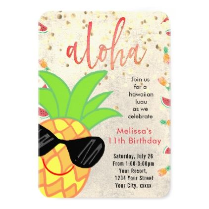 luau cartoon pineapple summer birthday card - invitations personalize custom special event invitation idea style party card cards