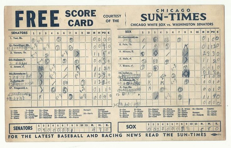 Chicago White Sox Scorecard Vs Washington Senators Nellie Fox