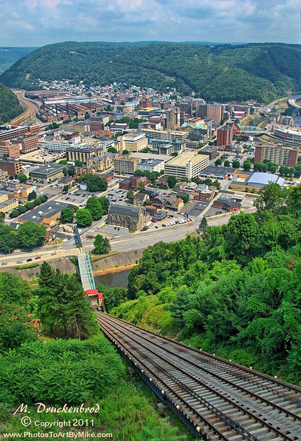 Johnstown PA Inclined Plane tracks and a city view