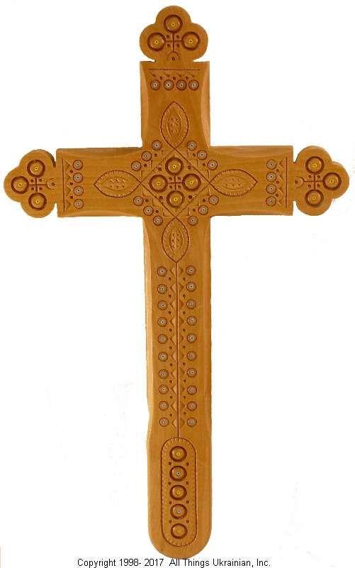 Ukrainian Hand Carved Carpathian Wood Cross # WCR1609 on AllThingsUkrainian.com