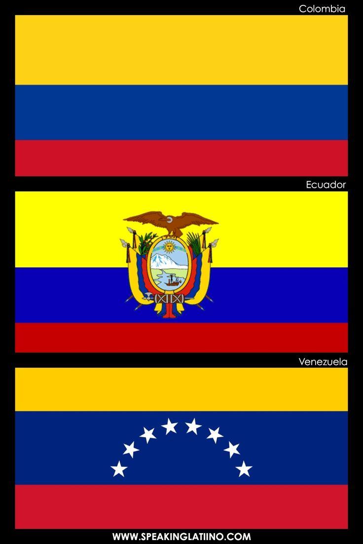 Hispanic Flags With Similar Flags: COLOMBIA, ECUADOR AND VENEZUELA: SAME ORIGIN. Read about it here: http://www.speakinglatino.com/hispanic-flags-with-similar-flags/ #Colombia #Ecuador #Venezuela #Flags #Bandera