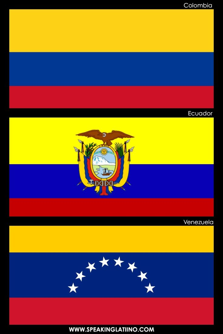 Hispanic Flags With Similar Flags: COLOMBIA, ECUADOR AND VENEZUELA: SAME ORIGIN. Read about it here: http://www.speakinglatino.com/hispanic-flags-with-similar-flags/ #Colombia #Ecuador #Venezuela #Flags #Bandera