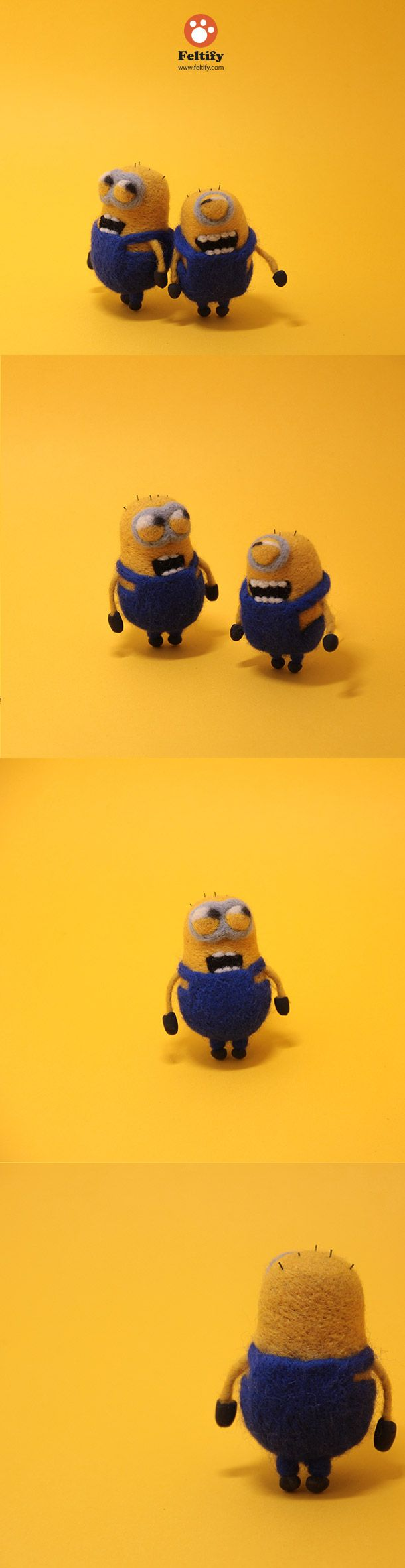 Needle felted felting felt minions doll toy craft cute craft project