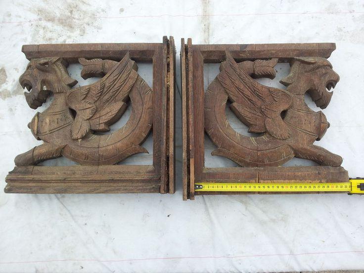 Popular  Holz Drechselteile f r Buffet Schrank Vertiko S ule Aufsatz Drachen Figur