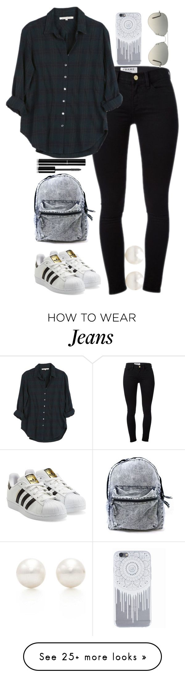 """""""Flannel and Jeans"""" by namitabpatel on Polyvore featuring Tiffany & Co., Frame Denim, Xirena, adidas Originals, Ray-Ban and Chanel"""