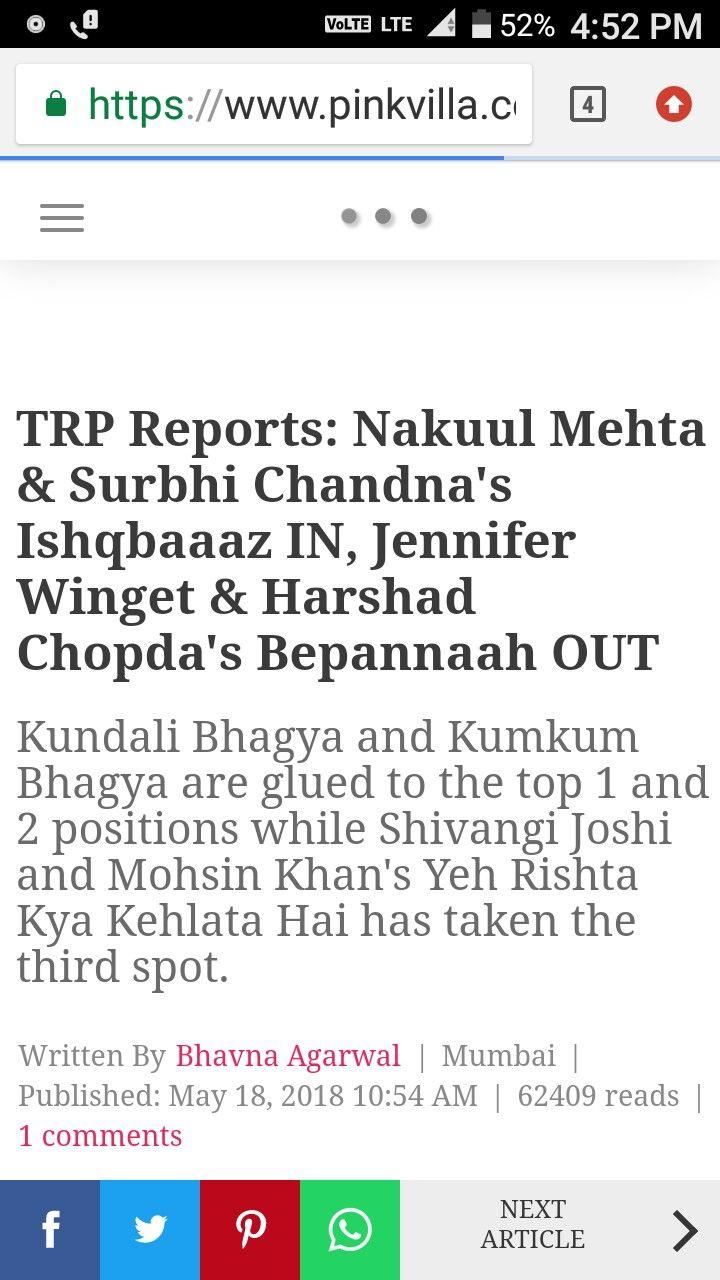 Kundali Bhagya Trp Toppers Surbhi Chandna Jennifer Winget Kumkum Bhagya