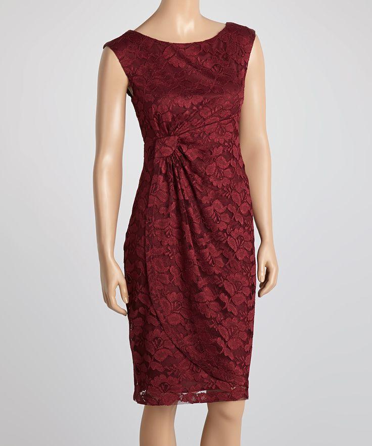 Burgundy Lace Sheath Dress
