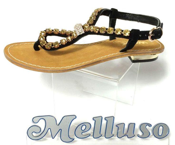 http://www.marketitaliano.it/c/181565153276&pid=12 Melluso scarpe donna infradito gioiello camoscio nero strass 1 cm made in italy #Italia
