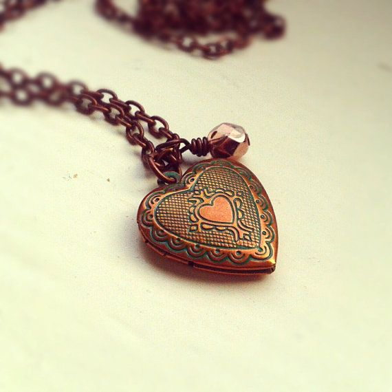 Antique Copper Locket Necklace Heart locket pendant by JLPromise, $25.00