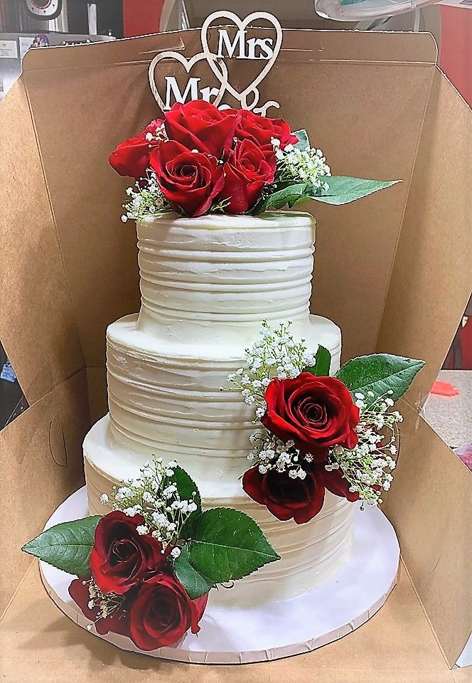 Rustic Wedding Cake With Red Roses Red Rose Wedding Cake Rustic Red Wedding Red Rose Wedding