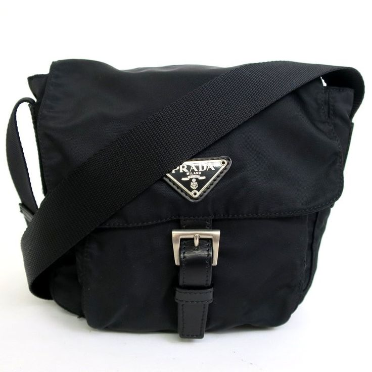 【中古】PRADA(プラダ) BT0173 斜め掛け ショルダーバッグ ナイロン レザー カーフ ブラック/軽くて丈夫なナイロン素材のショルダーバッグです。/新品同様・極美品・美品の中古ブランドバッグを格安で提供いたします。
