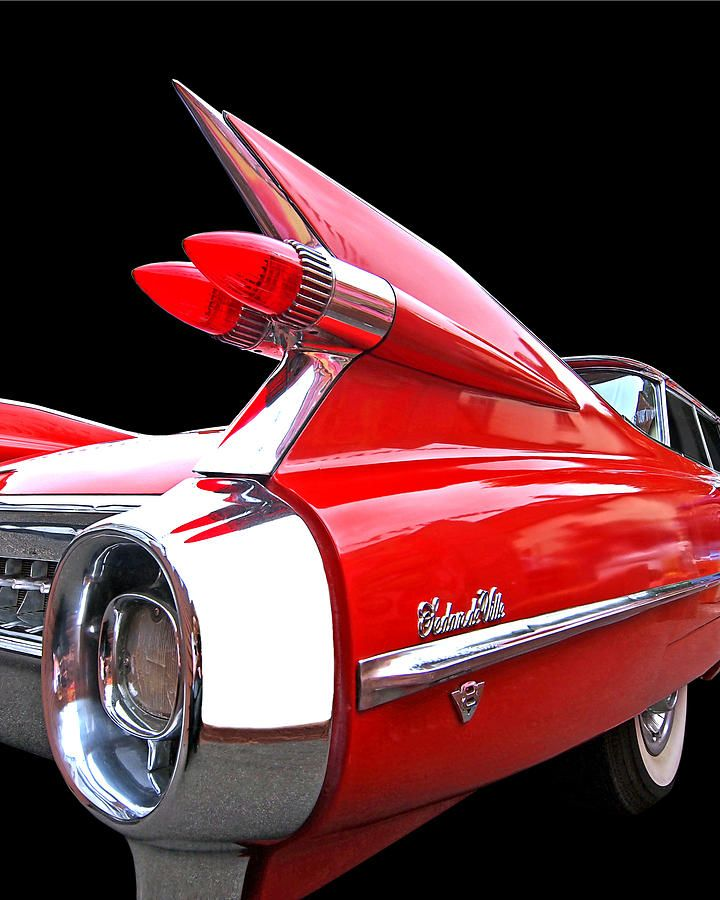 Red Cadillac Sedan De Ville 1959 Heckflossen   – cars