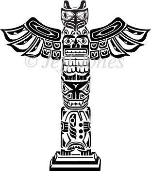 Totem Pole Coloring Pages | Totem Poles Eskimos Vector Art Illustration: