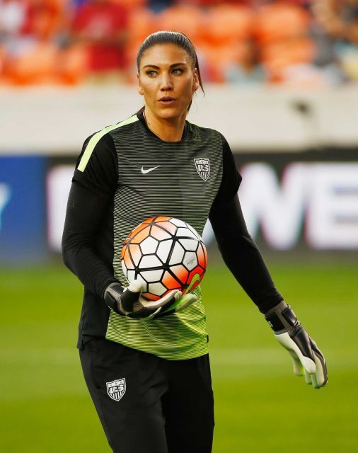 Hope Solo before the United States played Canada in the final of the 2016 Olympic qualifying tournament at BBVA Compass Stadium in Houston, Feb. 21, 2016. (Scott Halleran/Getty Images)