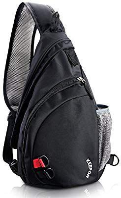 wholesale dealer 039b5 7f82c Amazon.com   Sling Shoulder Crossbody Daypack Bag for Travel and outdoor  sports Men   Women (Black)   Sports   Outdoors