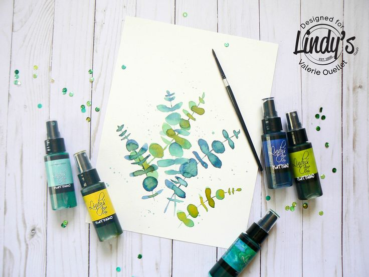 Watercolor foliage with Lindy's stamp gang spray
