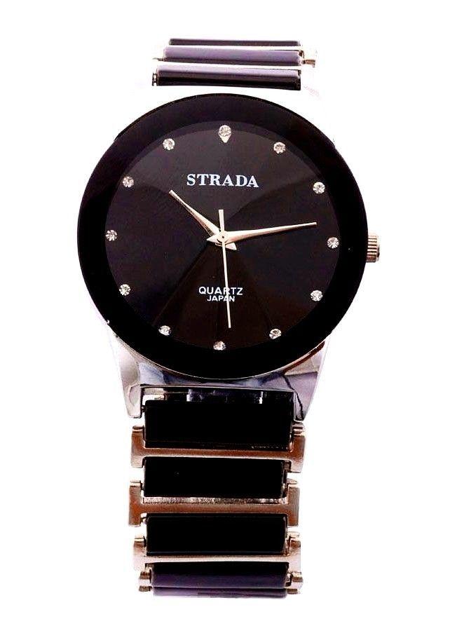 Black Ceramic Men's Gents  Bracelet Watch Quartz Movement CHRISTMAS IN JULY #STRADA #DressFormal
