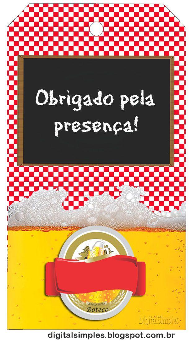 "Kit Personalizado ""Boteco"" Xadrez Vermelho - Convites Digitais Simples"