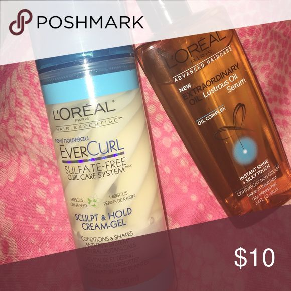 L'Oréal hair care L'Oréal ever curl sculpt and hold cream gel 5.0 oz (great for curls) and lustrous oil leave in serum 3.4 oz. Both used 3 x max. Priced accordingly. loreal Makeup